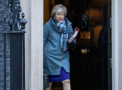 © Licensed to London News Pictures. 30/01/2019. London, UK. Prime Minister Theresa May leaves 10 Downing Street as she heads to Parliament for PMQs. She has said she will now return to Brussels to seek further concessions from the EU. Photo credit: Rob Pinney/LNP