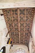 Ornate decorated heraldic ceiling fifteenth century chantry chapel Church of Saint Nicholas, Bromham, Wiltshire, England, UK