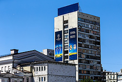 A banner on the side of flats by the Olympic Stadium for the Champions League Final in Kiev - Mandatory by-line: Robbie Stephenson/JMP - 26/05/2018 - FOOTBALL - Olympic Stadium - Kiev,  - Real Madrid v Liverpool - UEFA Champions League Final