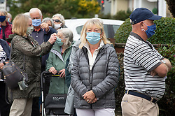 ©Licensed to London News Pictures 29/09/2020  <br /> Beckenham, UK. People over the age of sixty five are queuing outside a doctors practice in  Beckenham, South London this morning for their pre booked winter flu vaccination. Every person has to have a temperature check before they go into the surgery. Photo credit:Grant Falvey/LNP