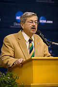Governor of Iowa Terry Branstad welcomes NCAA Division III athletes to Grinnell College during the National Indoor Track and Field Championships on Thursday evening.