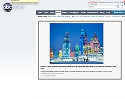 tearsheet from abc news, Harbin ice festival