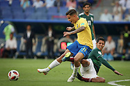 Philippe Coutinho of Brazil and Hugo Ayala of Mexico during the 2018 FIFA World Cup Russia, round of 16 football match between Brazil and Mexico on July 2, 2018 at Samara Arena in Samara, Russia - Photo Thiago Bernardes / FramePhoto / ProSportsImages / DPPI