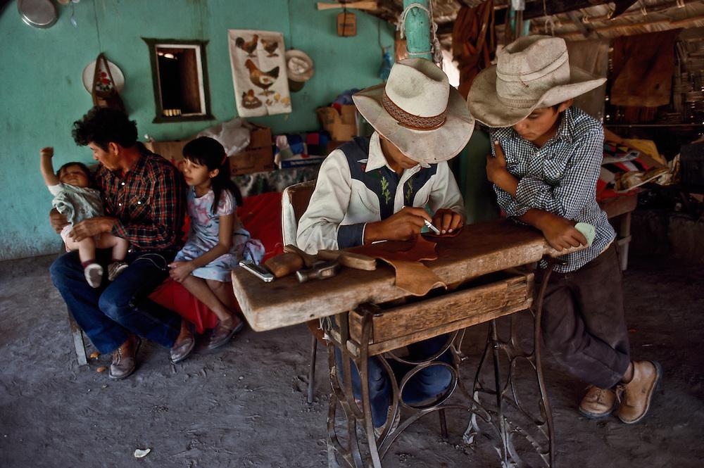 A cowboy family in Baja California.