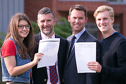 © Licensed to London News Pictures. 18/08/2016. Solihull School students receiving their A Level results earlier today. Pictured, from left, Megan Lloyd with her father David who is Headmaster, Deputy Headmaster Sean Morgan with his son Charlie. Photo credit: Dave Warren/LNP