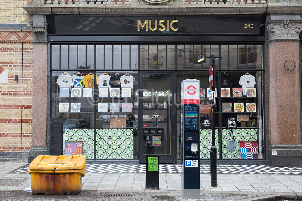 Pure Vinyl record shop in Brixton on the 11th April 2018 in South London in the United Kingdom.