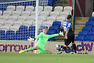 Brett Pitman of Bournemouth puts the ball past Cardiff City goalkeeper Simon Moore but the goal is ruled out for offside. Capital One Cup, 3rd round match, Cardiff City v AFC Bournemouth at the Cardiff City stadium in Cardiff, South Wales on Tuesday 23rd Sept 2014<br /> pic by Mark Hawkins, Andrew Orchard sports photography.
