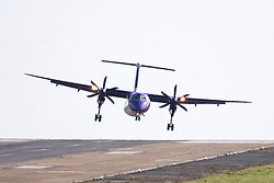 © Licensed to London News Pictures. 02/10/2017. Leeds UK. A Flybe aircraft struggles to land at Englands highest airport, Leeds Bradford as strong winds batter Yorkshire today.  Photo credit: Andrew McCaren/LNP