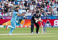 Cricket - 2019 ICC Cricket World Cup - Group Stage: England vs. NZ<br /> <br /> James Neesham of New Zealand bowled out by Mark Wood of England for 19, at the Riverside, Chester-le-Street, Durham.<br /> <br /> COLORSPORT/BRUCE WHITE