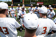 WINSTON-SALEM, NC - JUNE 02: Maryland head coach John Szefc talks to his players. The West Virginia University Mountaineers played the University of Maryland Terrapins on June 2, 2017, at David F. Couch Ballpark in Winston-Salem, NC in NCAA Division I College Baseball Tournament Winston-Salem Regional Game 1. West Virginia won the game 9-1.