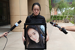 June 15, 2018 - Phoenix, Arizona, U.S. Jiang Yue's cousin XU XIANG is interviewed by media outside the Superior Court of Arizona in Maricopa County in Phoenix. American woman Holly Davis was sentenced to 25 years in prison on Friday in a court in the western U.S. state of Arizona for the murder of Jiang Yue, a 19-year-old Chinese exchange student attending Arizona State University, after a rear-end collision in 2016. (Credit Image: © Gao Shan/Xinhua via ZUMA Wire)