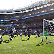 NEW YORK, NEW YORK - May 29:  Goalkeeper Joseph Bendik #1 of Orlando City FC can't stop Frederic Brillant #13 of New York City FC header for NYCFC's first half goal during the New York City FC Vs Orlando City, MSL regular season football match at Yankee Stadium, The Bronx, May 29, 2016 in New York City. (Photo by Tim Clayton/Corbis via Getty Images)