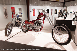 """Josh Sheehan's Buzzards Luck is custom Frisco-style chopper in the front and a race bike in the rear. Built with a customized 1936 VL Frame and a 1947n 45"""" Flathead bottom and 1953 K Model top end. On view in the What's the Skinny Exhibition (2019 iteration of the Motorcycles as Art annual series) at the Sturgis Buffalo Chip during the Sturgis Black Hills Motorcycle Rally. SD, USA. Thursday, August 8, 2019. Photography ©2019 Michael Lichter."""