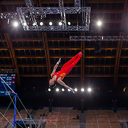 TOKYO, JAPAN - JULY 28: Wei Sun of China dismounts during his Horizontal Bar routine during the Men's All Round competition at Ariake Gymnastics Centre at the Tokyo 2020 Summer Olympic Games on July 28, 2021 in Tokyo, Japan. (Photo by Tim Clayton/Corbis via Getty Images)