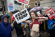 Protester against the state visit of US President Donald Trump on 4th June 2019 in London, United Kingdom. Organisers Together Against Trump which is a collaboration between the Stop Trump Coalition and Stand Up To Trump, have organised a carnival of resistance, a national demonstration to protest against President Trump's policies and politics during his official UK visit.
