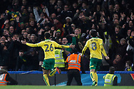 Jamal Lewis of Norwich City (L) celebrates scoring his team's first goal. The Emirates FA Cup, 3rd round replay match, Chelsea v Norwich City at Stamford Bridge in London on Wednesday 17th January 2018.<br /> pic by Steffan Bowen, Andrew Orchard sports photography.