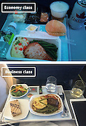 Airline Food: Economy Vs. First Class <br /> <br /> What used to be a woman's size 12 in 1968 is a woman's size 4 today; what used to be third-class is economy-class today. What changed? We've grown more sensitive: I'm not overweight, I still fit into a size 12. I'm not a third-class passenger, I'm a price conscious individual that rides in economy-class.<br /> Despite the name games, airline food hasn't changed much. Economy class meals still come in a wrapper, and business or first-class meals come with real cutlery. This list shows the sometimes striking difference between what the different classes eat.<br /> <br /> Photo shows: Air Canada<br /> ©Exclusivepix Media