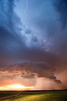 A supercell at sunset in central Kansas, April 23, 2006.