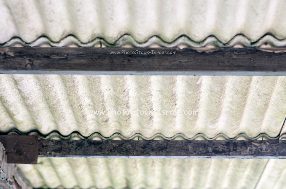 Asbestos car shed roof