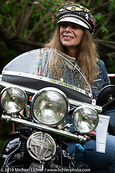 Helena Thorslund of Uddevalla, Sweden on her 1939 Indian Chief at the Twin Club's annual Custom Bike Show in Norrtälje, Sweden. Saturday, June 1, 2019. Photography ©2019 Michael Lichter.