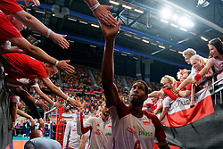 23-09-2019 NED: EC Volleyball 2019 Poland - Germany, Apeldoorn<br /> 1/4 final EC Volleyball - Poland win 3-0 / Wilfredo Leon Venero #9 of Poland