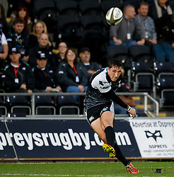 Sam Davies of Ospreys attempts a conversion <br /> <br /> Photographer Simon King/Replay Images<br /> <br /> Guinness PRO14 Round 2 - Ospreys v Cheetahs - Saturday 8th September 2018 - Liberty Stadium - Swansea<br /> <br /> World Copyright © Replay Images . All rights reserved. info@replayimages.co.uk - http://replayimages.co.uk