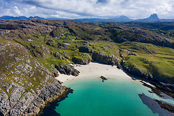 Aerial view of beach at Achmelvich in Sutherland,  Highland Region of Scotland, UK