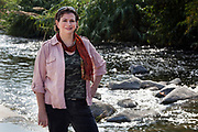 Sabrina Drill, Natural Resources Advisor for UC Cooperative Extension in Los Angeles and Ventura Counties. Raphael Sbarge films FoLAR documentary along banks of Los Angeles River, Glendale Narrows, Los Angeles, California, USA