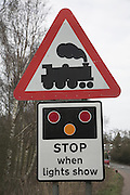 Level crossing road sign