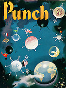 (Punch Magazine front cover, November 6th 1957, showing Earth orbited by Sputnik satellites, national flags and a Mr Punch moon)