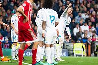 Real Madrid Sergio Ramos and Marcelo during Semi Finals UEFA Champions League match between Real Madrid and Bayern Munich at Santiago Bernabeu Stadium in Madrid, Spain. May 01, 2018. (ALTERPHOTOS/Borja B.Hojas)
