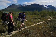 Mimmi Widstrand, Tuula Rahikka and Julia Mångsåker, Family hiking trip on the Laponia Circuit, along the Padjelantaleden trail, Padjelanta National Park and Sarek National Park, Norrbotten, Lapland, Sweden.
