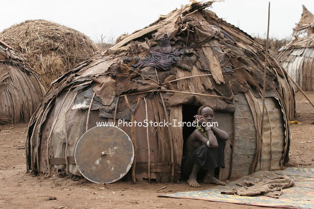 Africa, Ethiopia, Omo Valley, building a hut Daasanach tribe