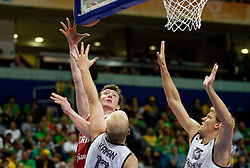 Omer Asik of Turkey vs Chris Kaman of Germany and Jan-Hendrik Jagla of Germany during basketball game between National basketball teams of Germany and Turkey at FIBA Europe Eurobasket Lithuania 2011, on September 9, 2011, in Siemens Arena,  Vilnius, Lithuania.  (Photo by Vid Ponikvar / Sportida)
