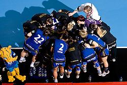 Players  Krim before 3rd Main Round of Women Champions League handball match between RK Krim Mercator, Ljubljana and Larvik HK, Norway on February 19, 2010 in Arena Kodeljevo, Ljubljana, Slovenia. Larvik defeated Krim 34-30. (Photo by Vid Ponikvar / Sportida)