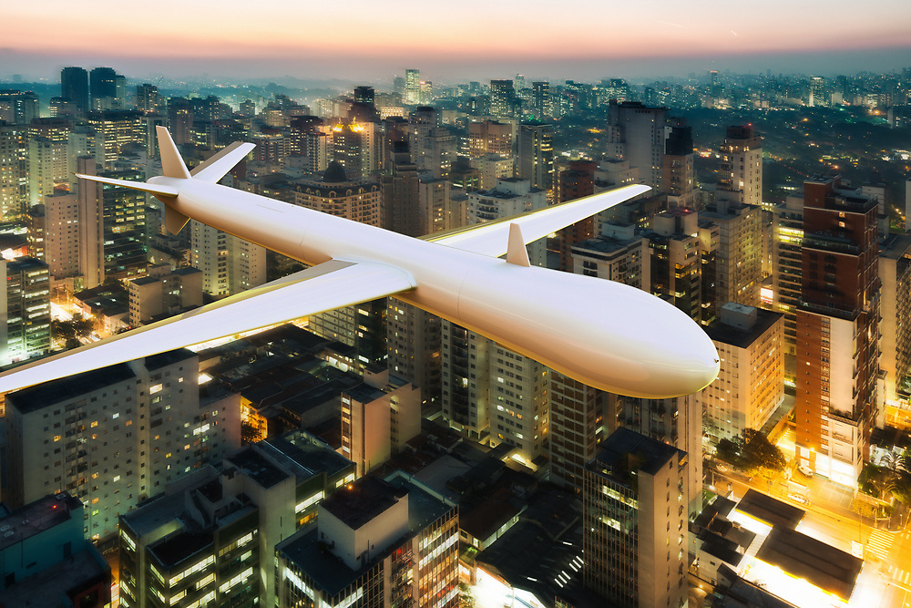 3D rendering of a drone surveilling over a big city