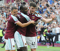 Football - 2021 / 2022 Premier League - West Ham United vs Crystal Palace - London Stadium - Saturday 28th August 2021<br /> <br /> Michail Antonio of West Ham celebrates scoring  goal no 2 with Pablo Fornals and Declan Rice<br /> <br /> Credit : COLORSPORT/Andrew Cowie