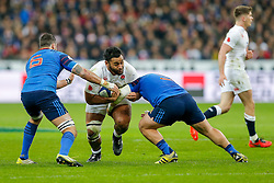 England Number 8 Billy Vunipola is tackled by France Flanker Damien Chouly and Prop Rabah Slimani - Mandatory byline: Rogan Thomson/JMP - 19/03/2016 - RUGBY UNION - Stade de France - Paris, France - France v England - RBS 6 Nations 2016.