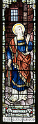 Stained glass window war memorial church of Saint Peter, Milton Lilbourne, by Jones and Willis 1919, detail showing Saint Peter