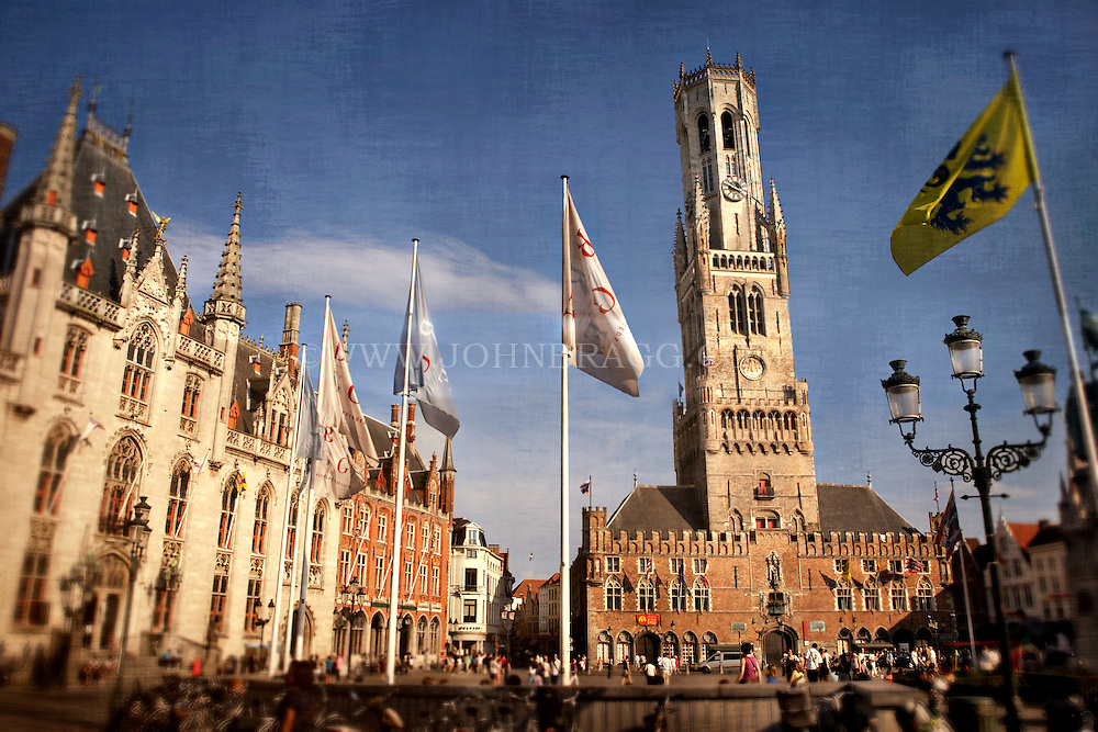 Photo of the Provincial Palace, Belfry Tower, and the Markt in Bruges, Belgium.