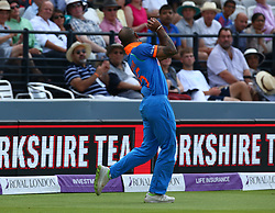 July 14, 2018 - London, Greater London, United Kingdom - Shikhar Dhawan of India catches England's Eoin Morgan .during 2nd Royal London One Day International Series match between England and India at Lords Cricket Ground, London, England on 14 July 2018. (Credit Image: © Action Foto Sport/NurPhoto via ZUMA Press)