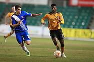 Medy Elito of Newport county ® goes past Jake Gray of Hartlepool. Skybet football league two match, Newport county v Hartlepool Utd at Rodney Parade in Newport, South Wales on Tuesday 15th March 2016.<br /> pic by Andrew Orchard, Andrew Orchard sports photography.