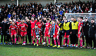 Dover celebrate victory during the The FA Cup match between Cheltenham Town and Dover Athletic at Whaddon Road, Cheltenham, England on 7 December 2014.