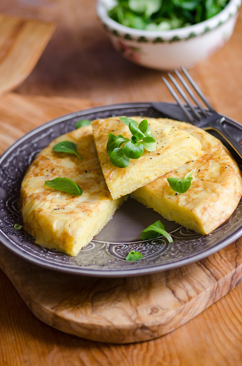 A traditional Spanish omelette on a plate