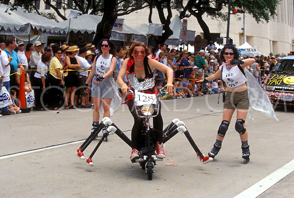Stock photo of the Fly Girls riding in a fly themed display