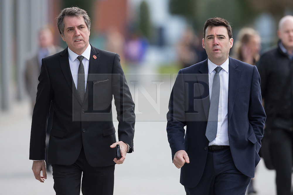 © Licensed to London News Pictures. 26/04/2016. Warrington, UK. STEVE ROTHERAM MP and ANDY BURNHAM MP arrive at the court where the jury is due to deliver their verdicts at the Hillsborough Inquest, at the coroner's court at Birchwood Park.  Photo credit: Joel Goodman/LNP