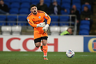 Nick Townsend, the goalkeeper of Barnsley in action. EFL Skybet championship match, Cardiff city v Barnsley at the Cardiff city stadium in Cardiff, South Wales on Tuesday 6th March 2018.<br /> pic by Andrew Orchard, Andrew Orchard sports photography.