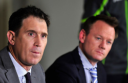 Cricket Australia CEO James Sutherland (left) and General Manager of Team Performance Pat Howard during the press conference at Radisson Blu Hotel, Bristol.