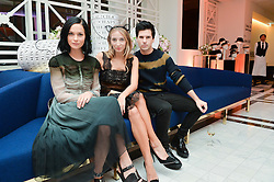 Left to right, LEIGH LEZARK, HARLEY VIERA NEWTON and GEORDON NICOL at a dinner to celebrate the exclusive Capsule collection: Maison Michel by Karl Lagerfeld held at Selfridges, 400 Oxford Street, London on 23rd February 2015.