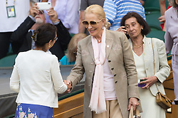 © Licensed to London News Pictures. 12/07/2018. London, UK. Princess Michael Kent watches the women's semi-finals round singles draw of the Wimbledon Tennis Championships 2018, at the All England Lawn Tennis and Croquet Club. Photo credit: Ray Tang/LNP